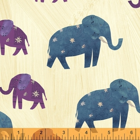 Carrie Bloomston for Windham, Wish, Starry Elephants Old Paper