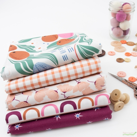Cathy Nordstrom for FIGO, A Life in Pattern, Coral in FAT QUARTERS 5 Total