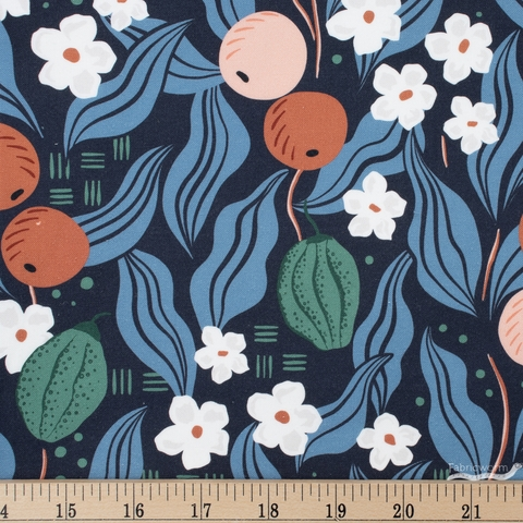 Cathy Nordstrom for FIGO, A Life in Pattern, Fruit Floral Navy