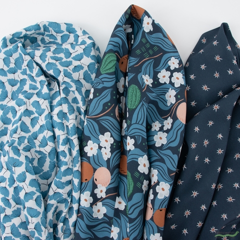 Cathy Nordstrom for FIGO, A Life in Pattern Rayon, Flower Toss Blue