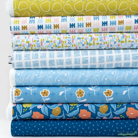 Cathy Nordstrom for FIGO, Rollakan, Blue in HALF YARDS 8 Total