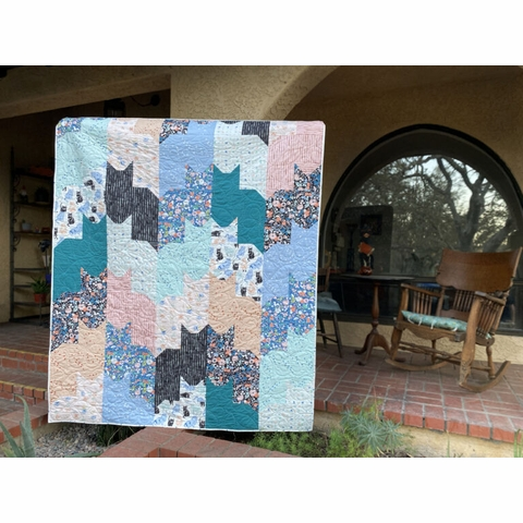 Cats On Cats Quilt Kit Featuring Kitty Garden From Birch Organic Fabrics