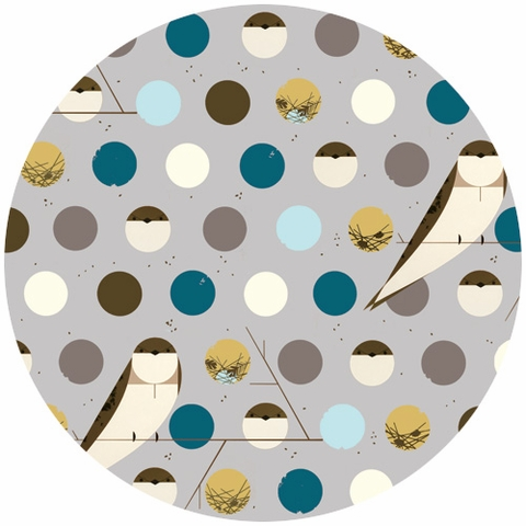 Charley Harper for Birch Fabrics Organic, KNIT, Bank Swallow Blue