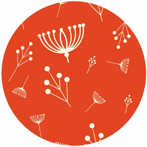 Charley Harper for Birch Fabrics Organic, KNIT, Twigs Tomato