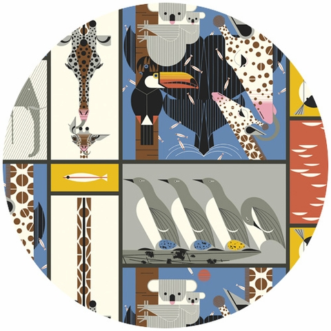 Charley Harper for Birch Fabrics Organic, Nurture, CANVAS, Zoo Babies