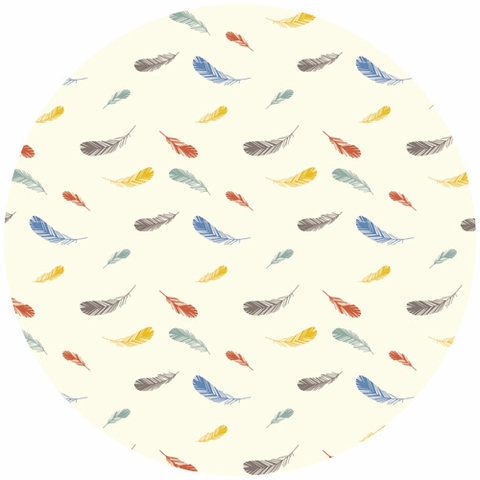 Charley Harper for Birch Fabrics Organic, Nurture, VOILE, Feathers Cream