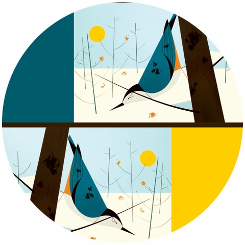 Charley Harper for Birch Fabrics Organic, White Breasted Nuthatch