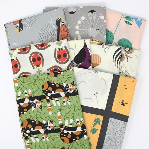 Charley Harper for Birch Organic Fabrics, Backyard in FAT QUARTERS 8 Total