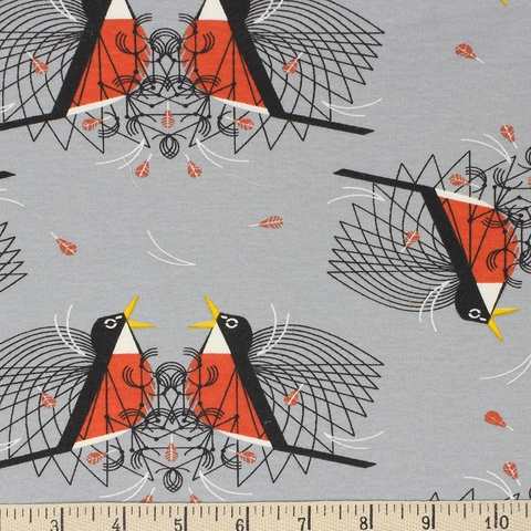 Charley Harper for Birch Organic Fabrics, Backyard, KNIT, Round Robin