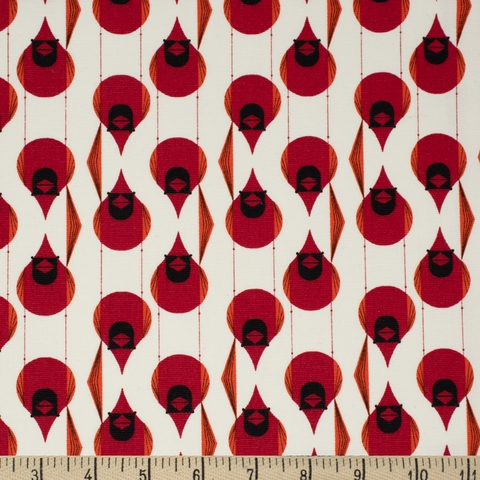 Charley Harper for Birch Organic Fabrics, Best Of, CANVAS, Cardinal Stagger