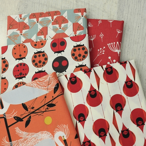 Charley Harper for Birch Organic Fabrics, Best of Charley Harper, Cardinal Stagger
