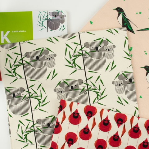 Charley Harper for Birch Organic Fabrics, Best Of, KNIT, Black Billed Magpie