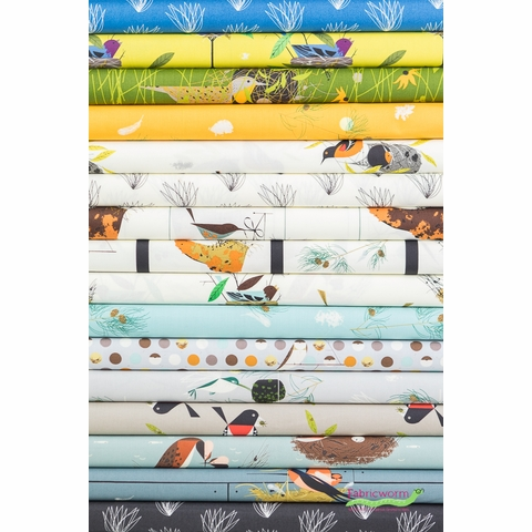 Charley Harper for Birch Organic Fabrics, Bird Architects in FAT QUARTERS 14 Total