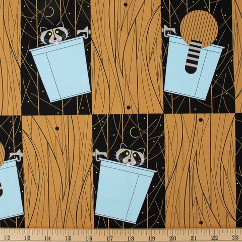 Charley Harper for Birch Organic Fabrics, Cats and Raccs, Basket Raccs Fat Quarter