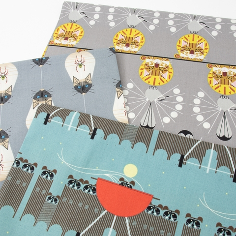 Charley Harper for Birch Organic Fabrics, Cats and Raccs, Big Racc Attack