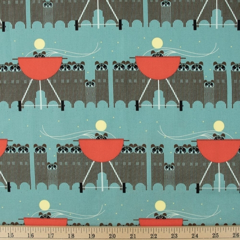 Charley Harper for Birch Organic Fabrics, Cats and Raccs, Big Racc Attack Fat Quarter