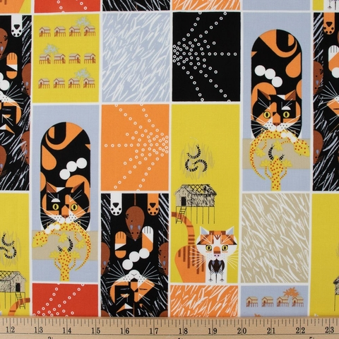 Charley Harper for Birch Organic Fabrics, Cats and Raccs, Cat and Mouse Fat Quarter