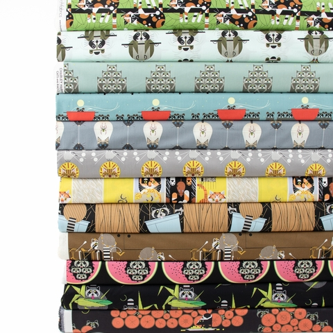 Charley Harper for Birch Organic Fabrics, Cats and Raccs in FAT QUARTERS 12 Total (PRECUT)