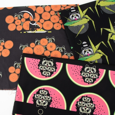 Charley Harper for Birch Organic Fabrics, Cats and Raccs in HALF YARDS 12 Total