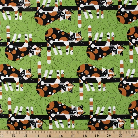 Charley Harper for Birch Organic Fabrics, Cats and Raccs, Limp On A Limb Fat Quarter