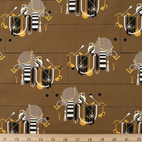 Charley Harper for Birch Organic Fabrics, Cats and Raccs, Racc And Ruin Fat Quarter