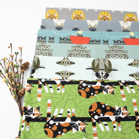 Charley Harper for Birch Organic Fabrics, Cats and Raccs, Raccpack