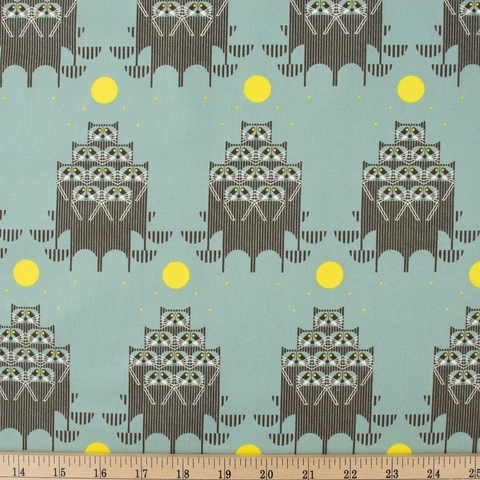 Charley Harper for Birch Organic Fabrics, Cats and Raccs, Raccpack Fat Quarter