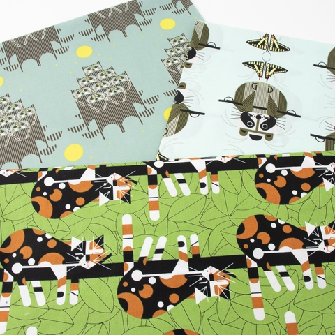 Charley Harper for Birch Organic Fabrics, Cats and Raccs, Raccrobat