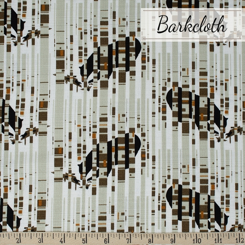 Charley Harper for Birch Organic Fabrics, Charley Harper Barkcloth, Bear in Birches Fat Quarter