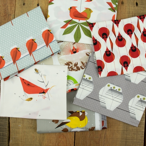 Charley Harper for Birch Organic Fabrics, Charley Harper Holiday, Evening Grosbeaks