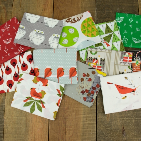 Charley Harper for Birch Organic Fabrics, Charley Harper Holiday in HALF YARDS 12 Total