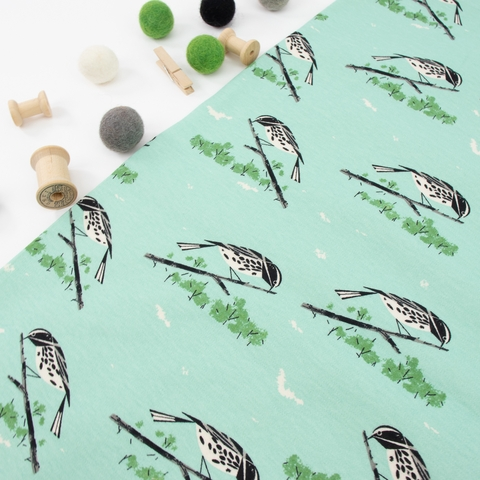 Charley Harper for Birch Organic Fabrics, Charley Harper Interlock Knits, Black and White Warbler