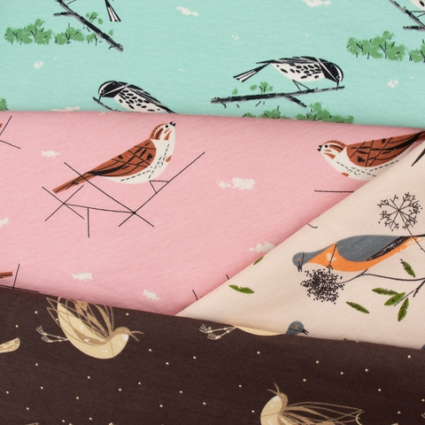Charley Harper for Birch Organic Fabrics, Charley Harper Interlock Knits, Song Sparrow