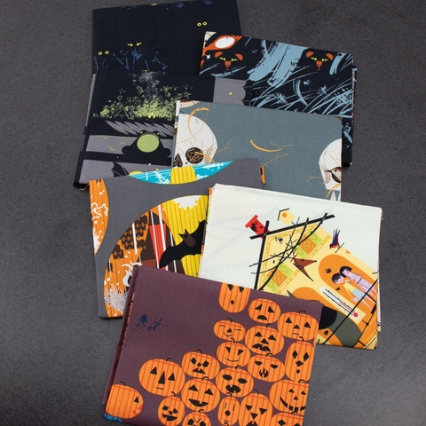 Charley Harper for Birch Organic Fabrics, Halloween Pre-Cut Fat Quarter Bundle 7 Total