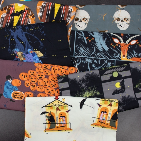 Charley Harper for Birch Organic Fabrics, Halloween, Scare Or Be Scared