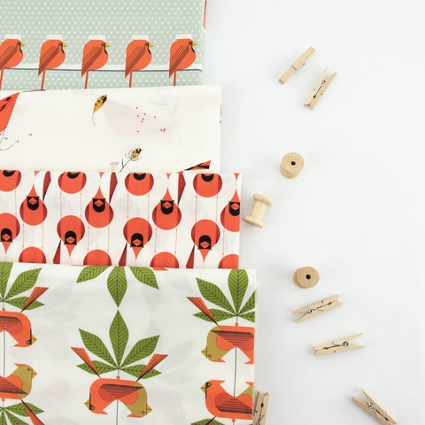 Charley Harper for Birch Organic Fabrics, Holidays 2020, Cool Cardinals