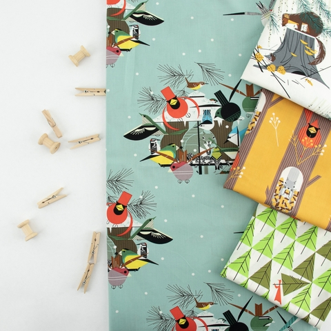 Charley Harper for Birch Organic Fabrics, Holidays 2020, Mischief Maker of the Woods