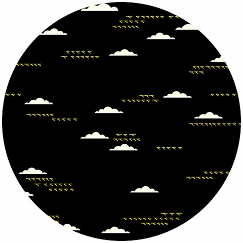 Charley Harper for Birch Organic Fabrics, Maritime, CANVAS, Birds and Clouds Black