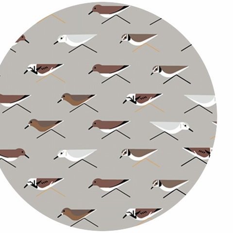 Charley Harper for Birch Organic Fabrics, Maritime, DOUBLE GAUZE, Sanderlings