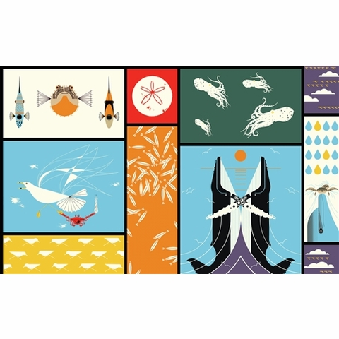 Charley Harper for Birch Organic Fabrics, Maritime, Maritime Patch