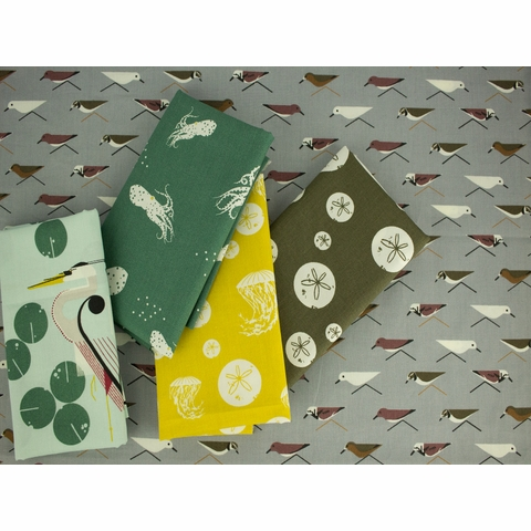 Charley Harper for Birch Organic Fabrics, Maritime, Octo School Green