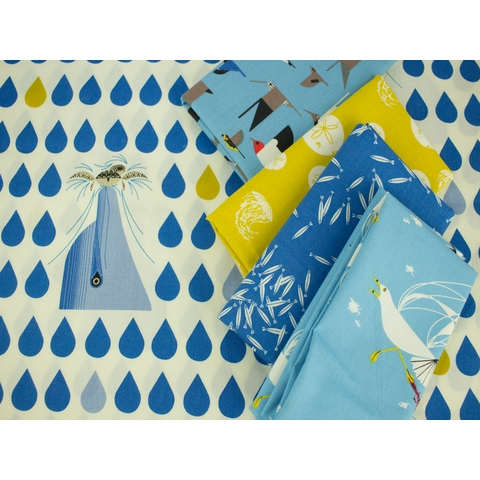 Charley Harper for Birch Organic Fabrics, Maritime, School of Fish Royal