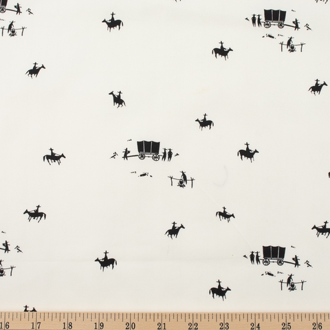 Charley Harper for Birch Organic Fabrics, New Frontier, Horse and Buggy Cream Fat Quarter