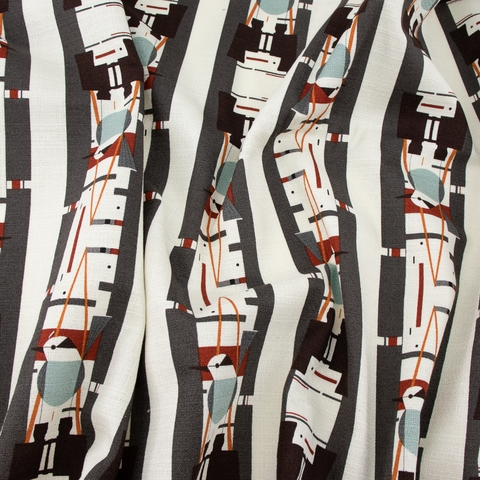 Charley Harper for Birch Organic Fabrics, Summer Barkcloth, Who's Watching Whom