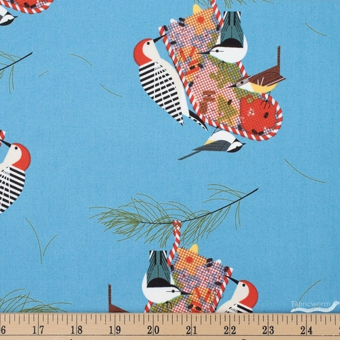 Charley Harper for Birch Organic Fabrics, Winter Wonderland, Backyard Birds Fat Quarter