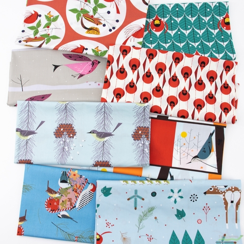Charley Harper for Birch Organic Fabrics, Winter Wonderland, Coniferous Cardinal
