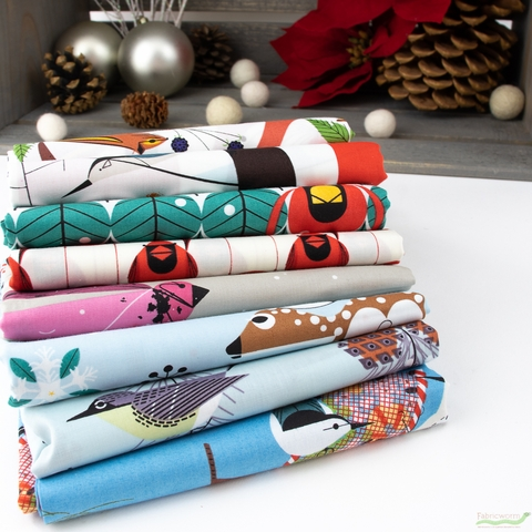 Charley Harper for Birch Organic Fabrics, Winter Wonderland Precut Fat Quarters 8 Total