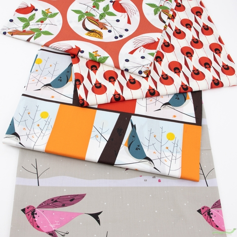 Charley Harper for Birch Organic Fabrics, Winter Wonderland, Purple Finch