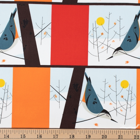 Charley Harper for Birch Organic Fabrics, Winter Wonderland, White Breasted Nuthatch