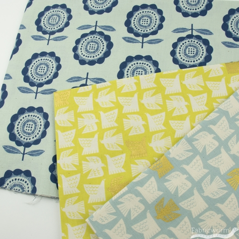 Chiemi Fujita for Cotton + Steel, Kibori, Paper Birds Citron Metallic